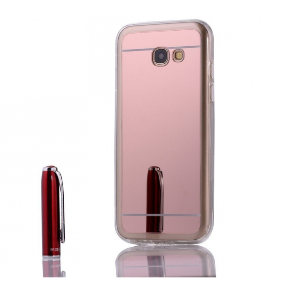 Husa oglinda Samsung Galaxy A7 2017 antisoc TPU gel rose gold