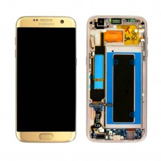 Ecran display complet cu rama Samsung Galaxy S7 EDGE gold