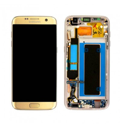 Ecran display complet cu rama Samsung Galaxy S7 EDGE gold-Display / Ecran telefon
