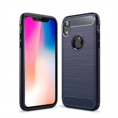 Husa Apple iPhone XR 6.1 carbon fiber albastru